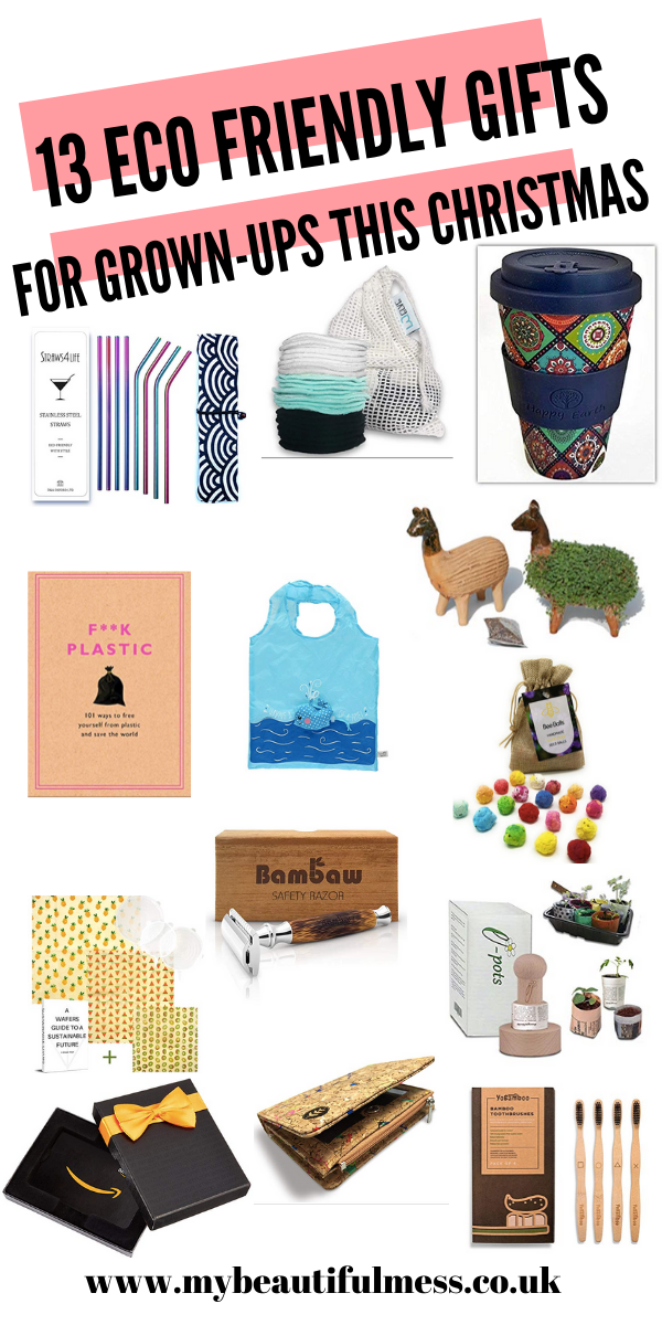 Here are 13 eco friendly gifts for grown ups. These are perfect for the eco friendly people in your life that you normally struggle to buy for by Laura at My Beautiful Mess #EcoGifts #EcoPresents #ChristmasGifts #EcoProducts