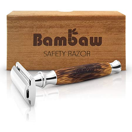 Double Edge Safety Razor with Long Natural Bamboo Handle*