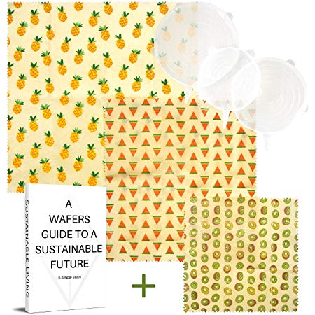 WAFE Beeswax Set of 3 + 3 Stretchy Silicone Lids Reusable Food Wax Wraps*