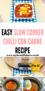This is an easy slow cooker chilli con carne recipe that can be made quickly and frozen as leftovers by Laura at My Beautiful Mess #SlowCooker #Chilli #Crockpot #BudgetMeals #Familyfood #dinner