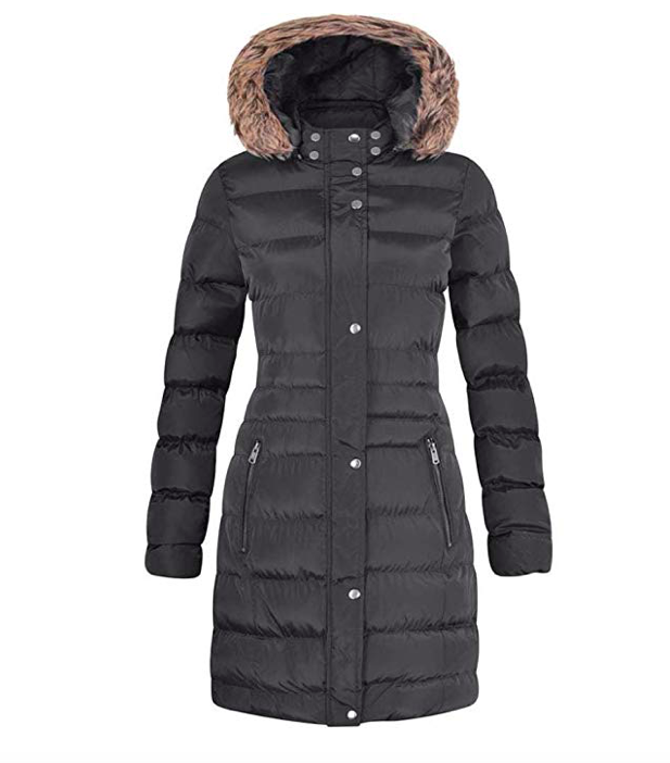 Long Fur Trimmed Hooded Padded Puffer Parka Ladies Winter Jacket Coat*