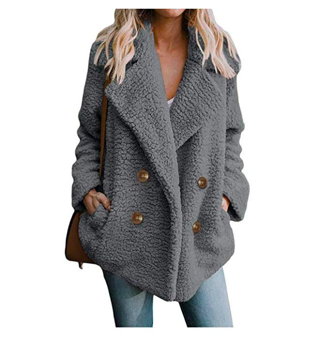Fuzzy Fleece Warm Artificial Collar Lapel Winter Outerwear Cardigan*
