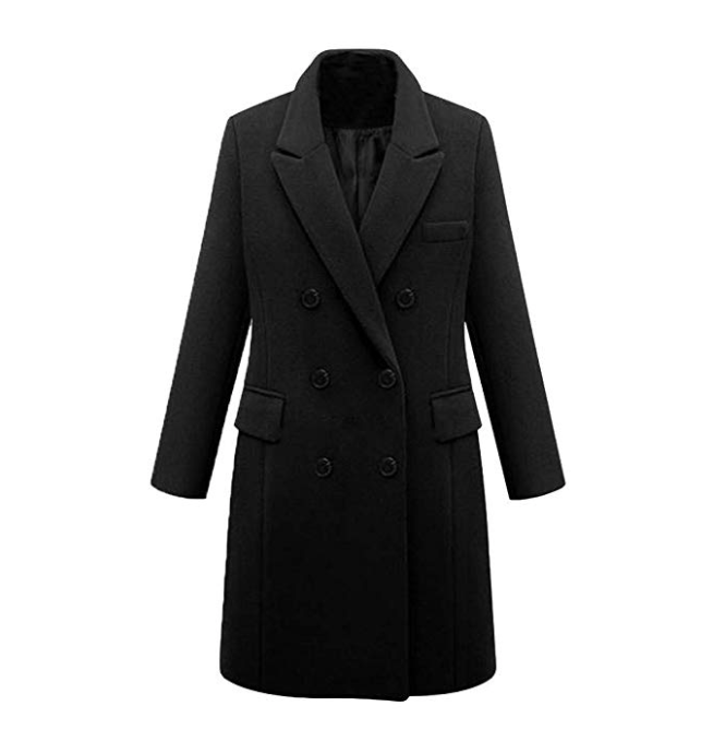 Ladies Trench Long Black Smart Coat with Buttons Overcoat*