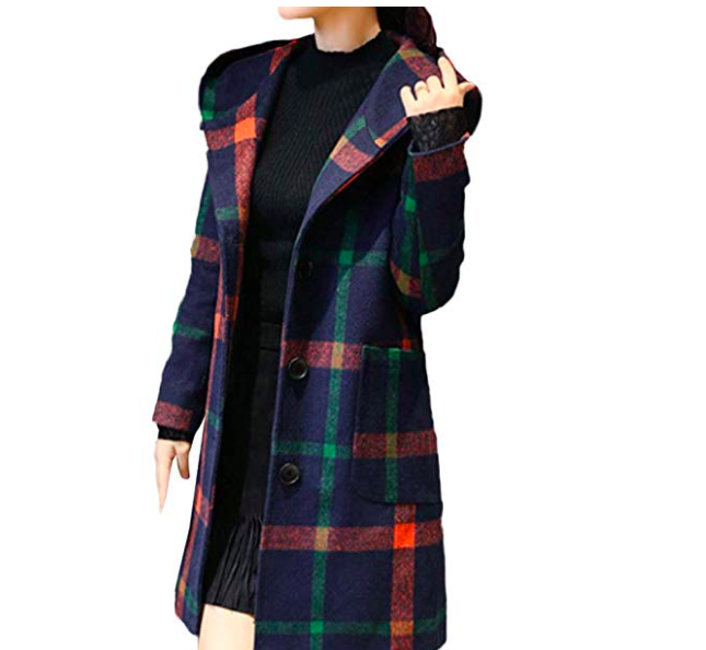 Plaid Winter Trench Coat*