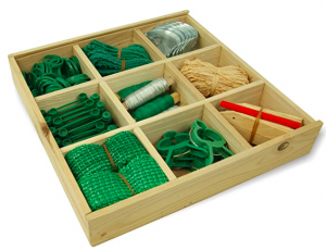 A 9 hole wooden box with garden tools in
