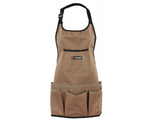 Brown garden apron with front pockets
