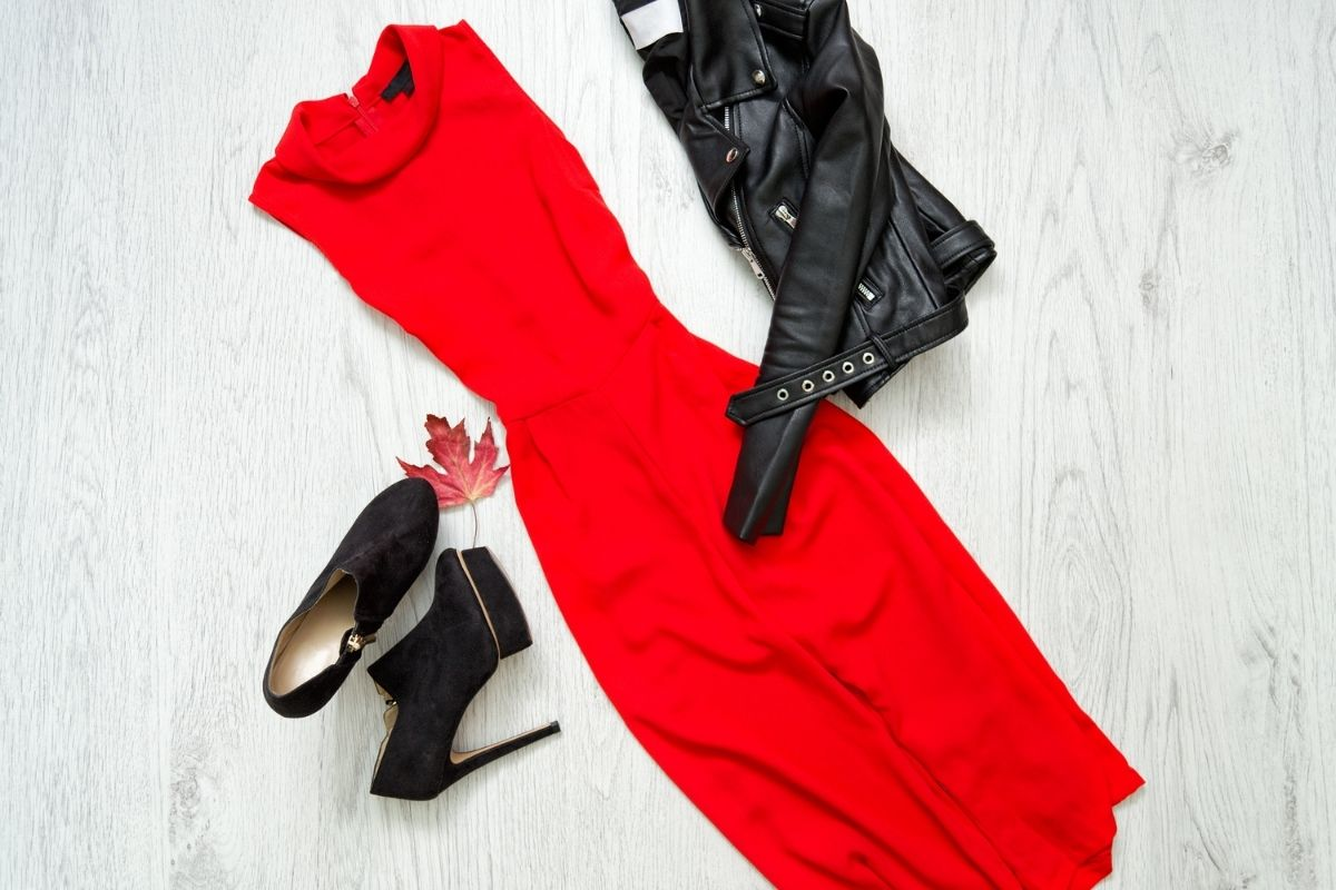 Black leather jacket, red dress and heels