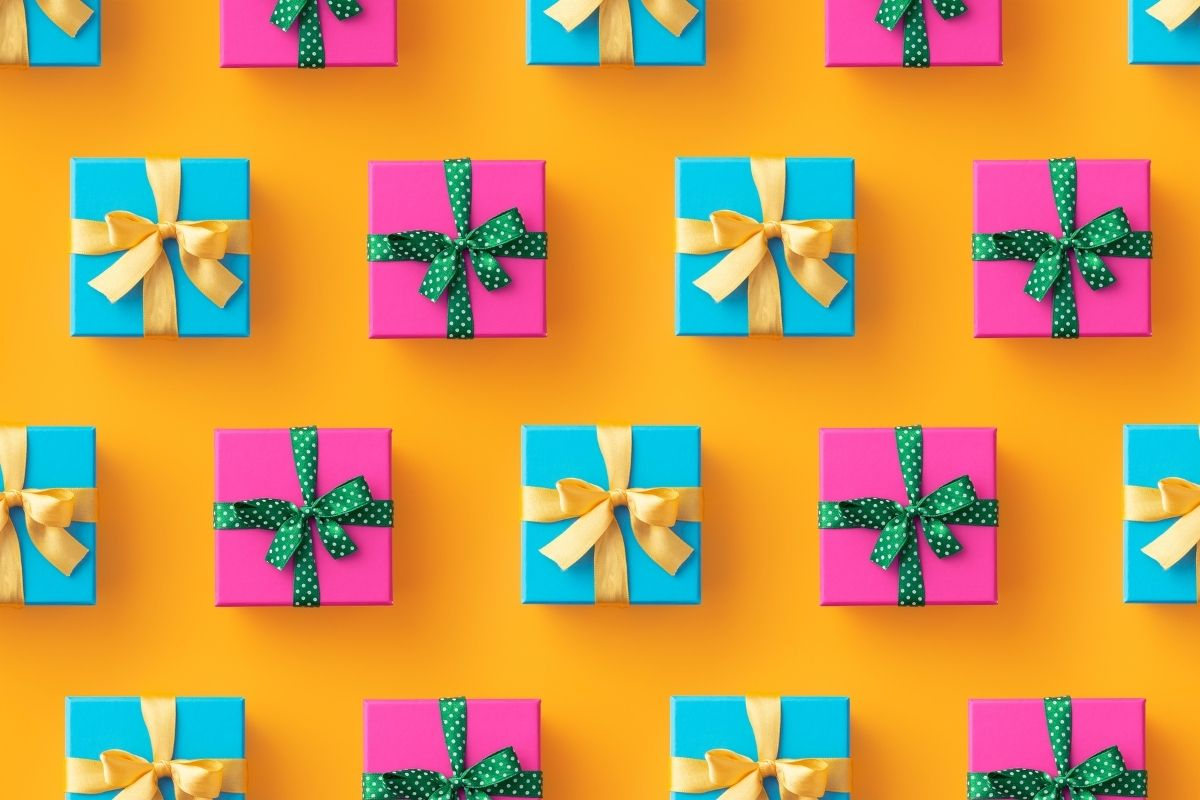 orange background with pink and blue parcels