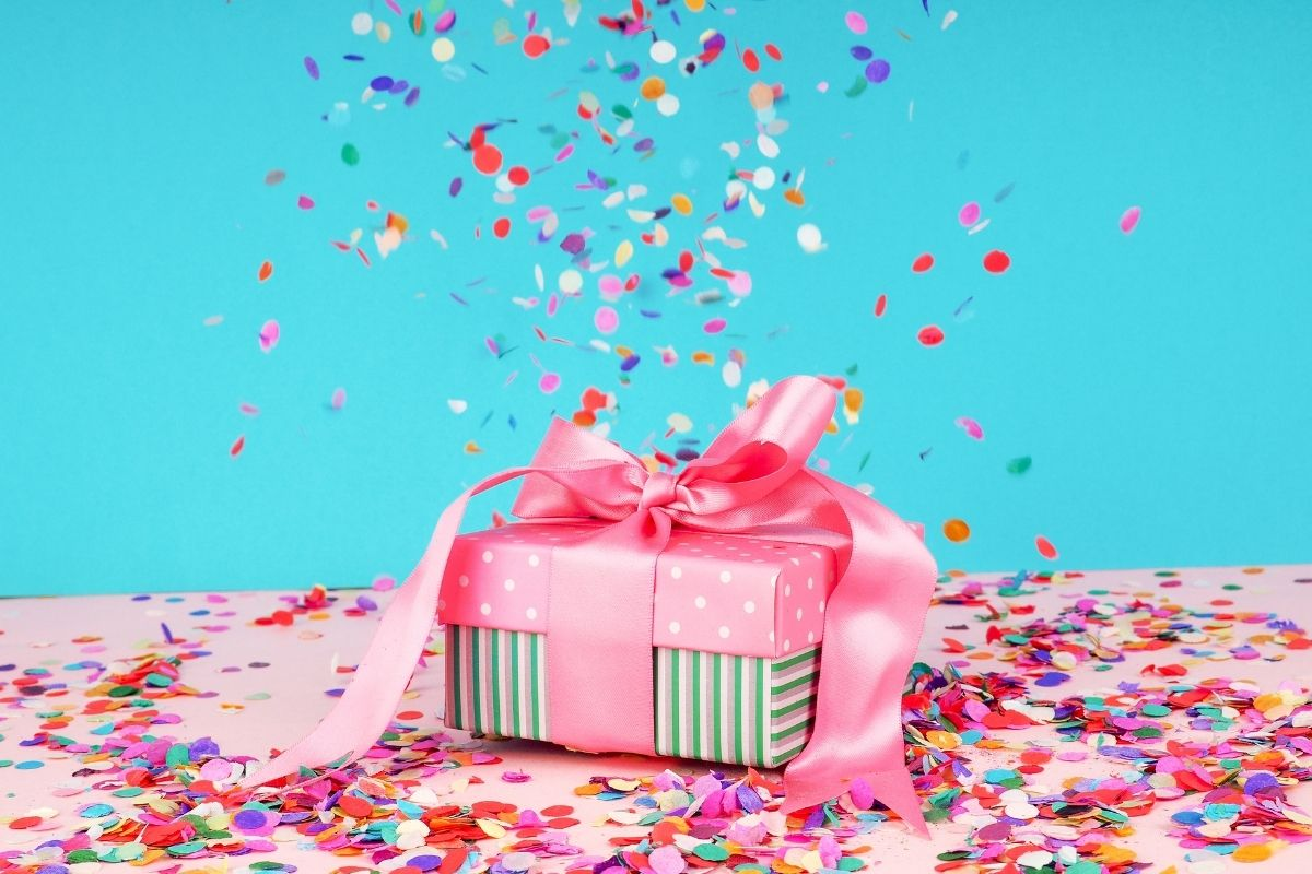Bright blue background and pink parcel