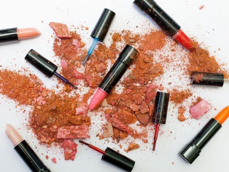 Different lipsticks in matte and wet