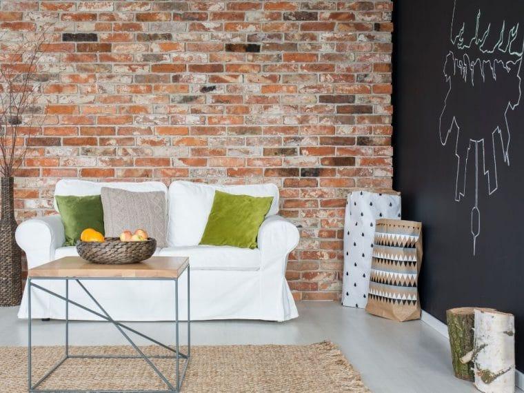 Brick walls with white sofa