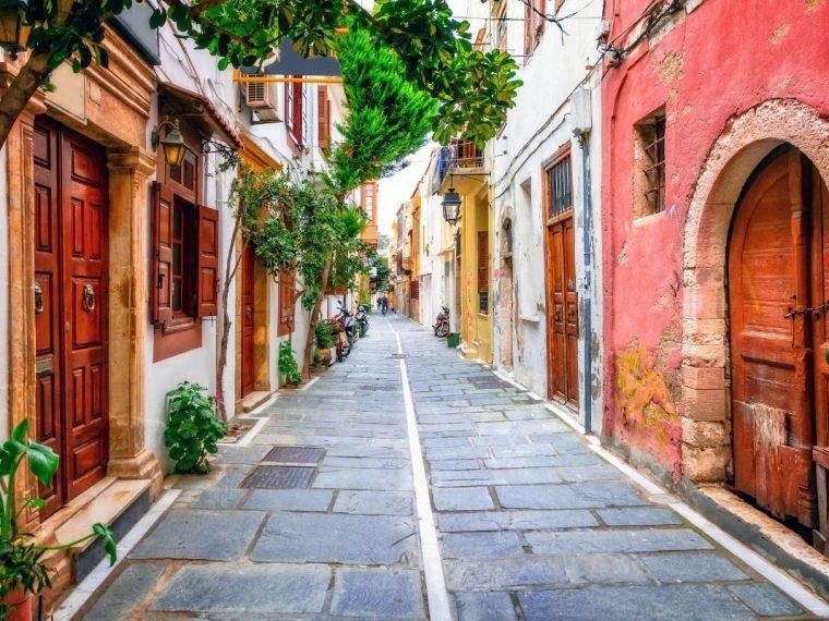 A red street in Crete